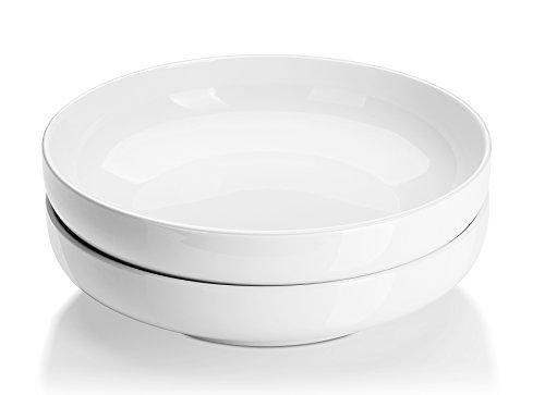 DOWAN 10 Inch2 Quart Porcelain PastaSalad Serving Bowls- 2 Packs Shallow White