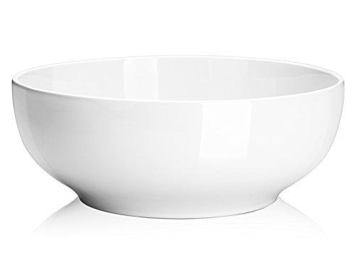 DOWAN 2-12 Quart Porcelain Serving Bowls - 2 Packs SaladPasta Bowl Set White Stackable