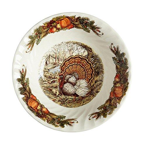 Queens Harvest Bounty Thanksgiving Turkey Porcelain Serving Bowl 10-Inch