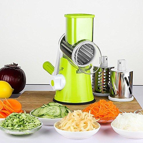Vegetable Mandoline Slicer Helet 3 Stainless Steel Blades Multi-Function Vegetable Chopper Fast Shredding Spiralizer Green