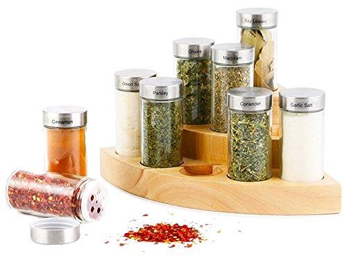 Orii Corner 9-Jar Wooden Spice Rack
