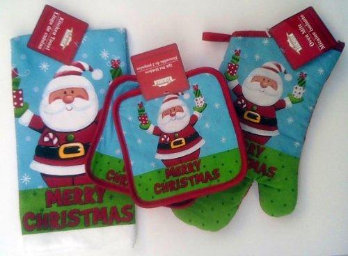 4 Piece Set - 2 Merry Christmas Potholders - Merry Christmas Oven Mitt - Merry Christmas Dishtowel