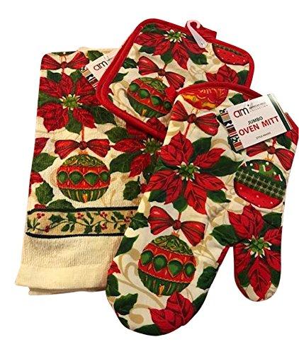 Christmas Holiday 4 piece kitchen linen set - Towel Pot Holder Oven Mitt
