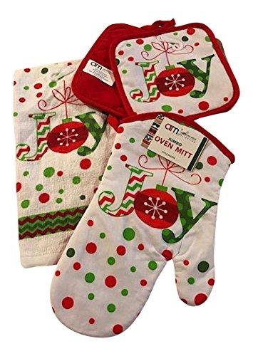 Christmas Holiday 4 piece kitchen linen set - dish towel pot holder oven mitt