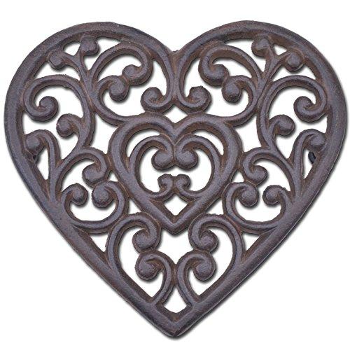 Decorative Cast Iron Trivet Ornate Heart 8 Wide