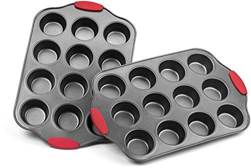 Elite Bakeware Nonstick Cupcake Pan Set With Intelligent Designtm Silicone Handles - Nonstick Muffin Pans Set