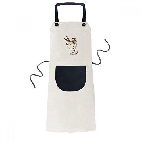 Brown Chocolate Bar Ice Glass Cream Ball Cooking Kitchen Beige Adjustable Bib Apron Pocket Women Men Chef Gift