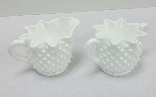 Vintage Fenton Glass CreamSugar Set Hobnail Milk Glass star shape edge