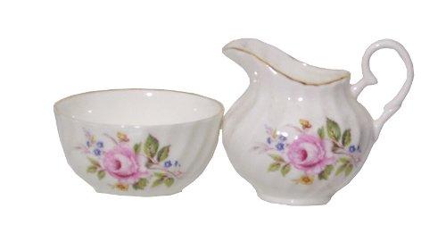 English Bone China Creamer Open Sugar Set-english Garden Floral Decor