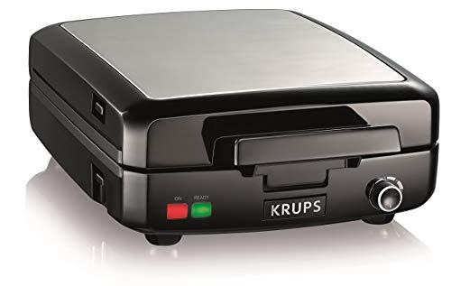 KRUPS Belgian Waffle Maker Waffle Maker with Removable Plates 4 Slices Black and Silver Renewed