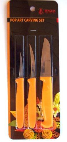Thai Fruit And Vegetable Carving Knives, Pop Art Carve Knife. Set Of 3