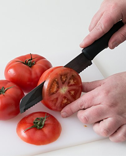 Best Serrated Knife - Bread Knife - Tomato Knife ; Serrated Ceramic Blade Never Needs Sharpening: Premium Utility