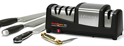 ChefsChoice 290 AngleSelect Hybrid Diamond Hone Knife Sharpener Combines Electric and Manual Sharpening for Straight and Serrated Knives with Patented Finishing Stage Made in USA 3-Stage Black