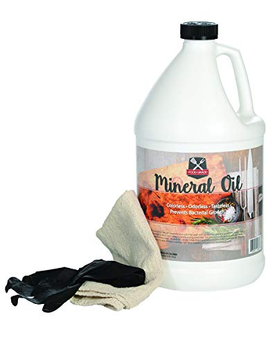 100 Pure Food Grade Mineral Oil - USP Certified and Approved Butcher Block and Cutting Board Oil - 1 Gallon with Free Application Cloth and Gloves