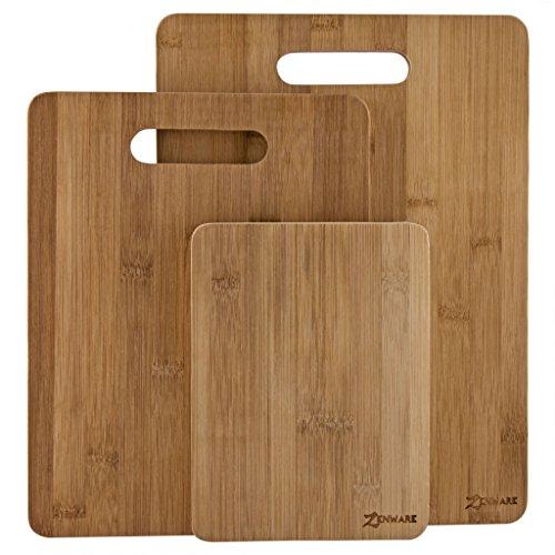 Zenware® 3 Piece All Natural Lightweight Small Bamboo Cutting Board Set