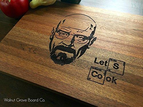 Breaking Bad Heisenberg Walt White Custom Engraved Cutting Board Let's Cook Gift For Him Birthday Gift Christmas