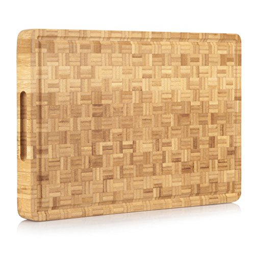 PROFESSIONAL Extra Large Bamboo Cutting Board Butcher Block w Juice Groove 177 x 118 x 15 Organic End-Grain Antibacterial Reversible Ideal for Cutting and Appetizers