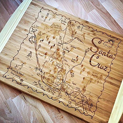 Santa Cruz Map Large Bamboo Cutting Board