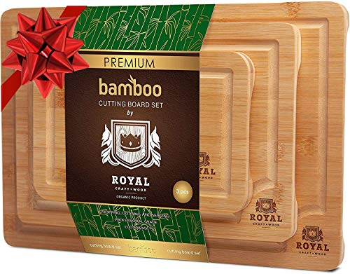 Organic Bamboo Cutting Board with Juice Groove 3-Piece Set - Best Kitchen Chopping Board for Meat Butcher Block Cheese and Vegetables  Anti Microbial Heavy Duty Serving Tray wHandles