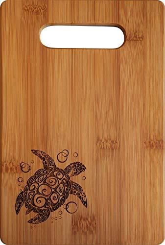 All Things Sea Turtles Single Tone Bamboo Bar Cutting Board whandle Sea Turtle 6 x 9 Small