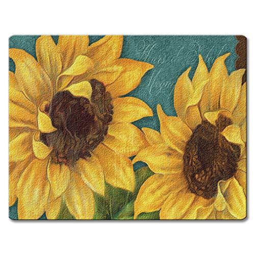 Sunshiny Day Bold Yellow Sunflowers Glass 10 Inch Kitchen or Bar Cutting Board