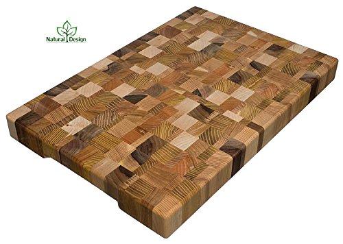 Cutting Board 18 x 12 x 16 inch End Grain Chopping Block Wood Cherry Oak Canadian Oak Ash-tree Walnut Beech Hardwood Extra Thick Durable Resistant