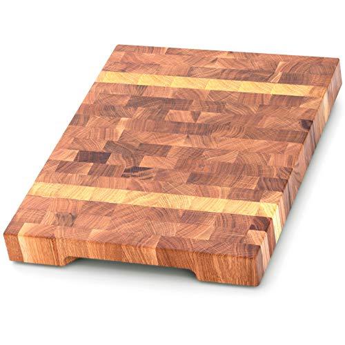 End Grain Wood Cutting Board - Wood Chopping Block - Kitchen Butcher Block - Oak&maple Cutting Board with Non Slip Feet - Large 16 x 12