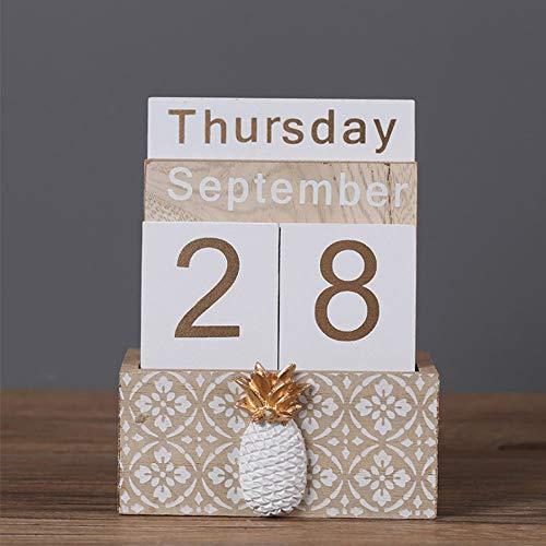 Perpetual Calendar Buery Wooden Calendar Block Calendar Vintage Wood Block Calendar for Home Office Desk Accessories Beige