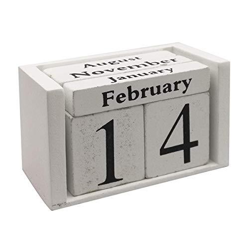 Vpang Vintage Wood Perpetual Calendar Shabby Chic Blocks Desktop Calendar Rustic Wooden Cubes Calendar Home Office Decoration White