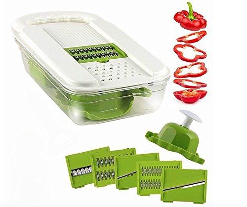 Mandoline Vegetable Slicer - Multiple Interchangeable Blade Slicer - Food Slicer - Fruit Slicer - Potato Slicer - Veggie Slicer - Stainless Steel Slicer - Onion Slicer