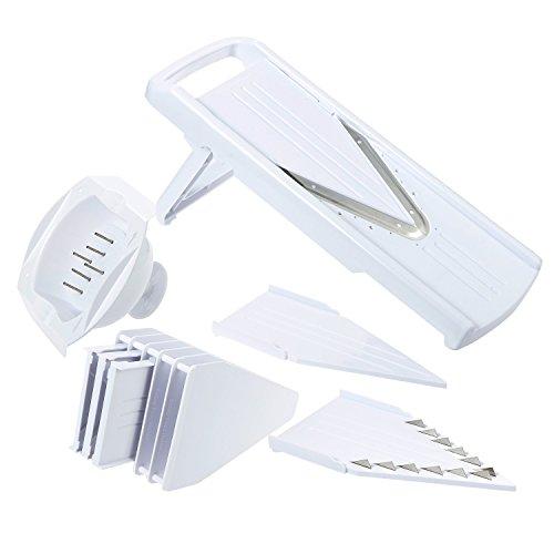 V-Blade Mandoline Slicer - 5 Stainless Steel Mandolin Blade Set - Handheld Mandoline Vegetable Slicer Cutter Peeler Slicer Grater and Julienne Food Slicer with Food Guard White