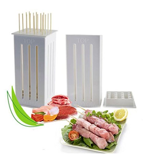 16 Holes DIY BBQ Slicer Box Food Meat Vegetable Slicer Box Portable Barbecue Grill Kebab Tool by shopidea