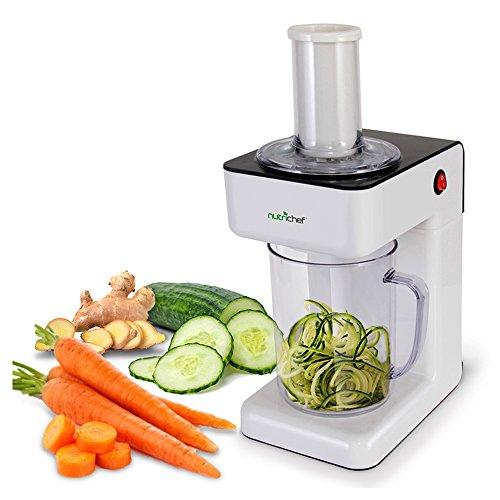 Electric Food Spiralizer - 3-in-1 Food Processor Salad Shooter Spiral Shredder Dishwasher Safe Removable Parts Includes Switchable Cutting Blades Electronic Plug-in Design - NutriChef