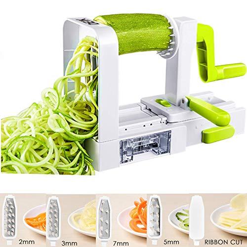 Spiralizer Vegetable Slicer Deik Spiral Slicer 5 Blade 2018 New Model Foldable Strongest Heaviest Duty Veggie Pasta and Spaghetti Maker for Low Healthy CarbPaleoGluten-Free