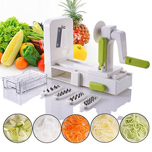 Folding 5-Blade Spiralizer - Vegetable Spiral Slicer Zucchini Spaghetti and Pasta Maker For Kitchen With Blades Cabby By Vinipiak