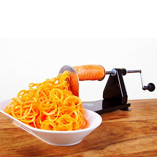 ICO 4-Blade Spiralizer Vegetable Slicer Stronger than all Plastic Spiralizers with 3 Interchangeable Blades and 1 Built-In Black