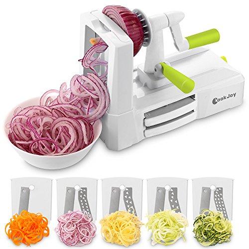 Spiralizer Vegetable Slicer CookJoy 5-Blade Spiralizer with Blade Storage Box for Zucchini Noodles Veggie Spaghetti Pasta