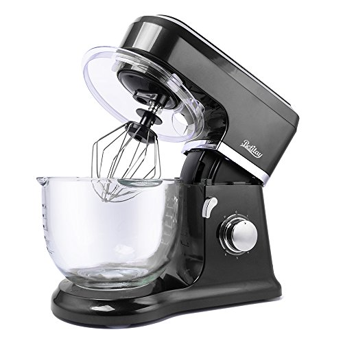 Betitay Stand Mixer 120V-60Hz1400W 40 QT Bowl Two Bowl Options 304 Stainless Steel Bowl and Glass Bowl with Mixing Beater Egg Whisk Dough Hook and Silicone SpatulaBlackGlass
