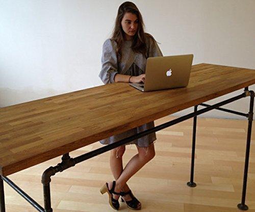 Standing Desk - Black Steel Pipe and Wooden Butcher Block