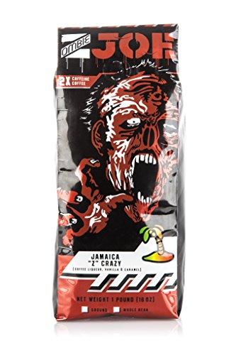 Dark Roast Ground Coffee Double Caffeine Zombie Joe Jamaica Z Crazy Bold Specialty Coffee - Extra Caffeinated Infused with Coffee Liqueur Vanilla Caramel