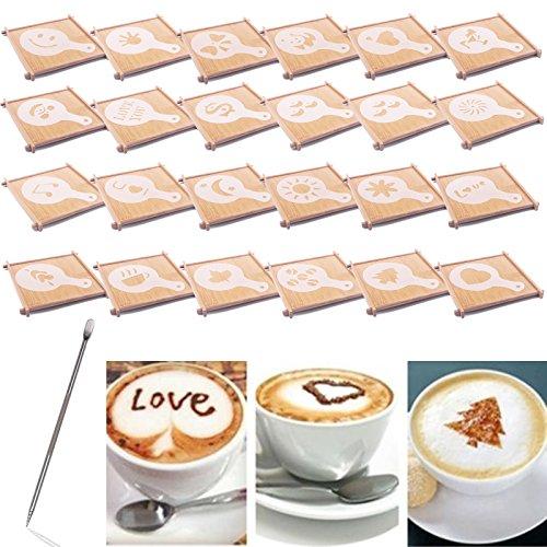 BIHRTC 24 Pcs 23 Designs Cappuccino Latte Barista Coffee Art Stencils Template Strew Pad Duster Spray Art  1pc Coffee Latte Art Pen