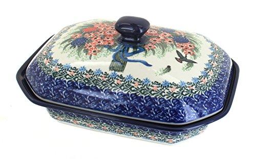 Polish Pottery Blush Bouquet Medium Covered Baking Dish