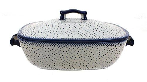 Polish Pottery Small Dots Covered Baking Dish