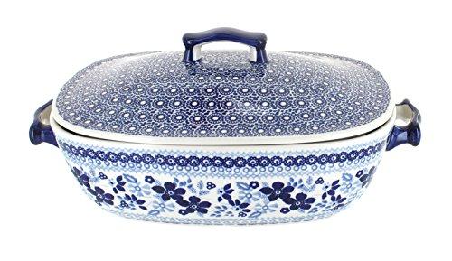 Polish Pottery Vintage Blue Dasiy Covered Baking Dish