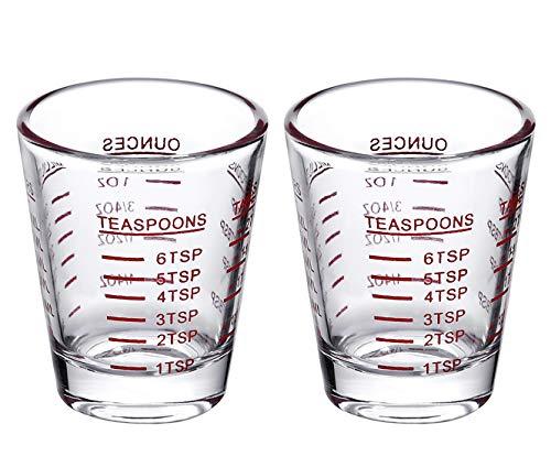 Shot Glasses Measuring cup Espresso Shot Glass Liquid Heavy Glass Wine Glass 2 Pack 26-Incremental Measurement 1oz 6 Tsp 2 Tbs 30ml 2 pack-red
