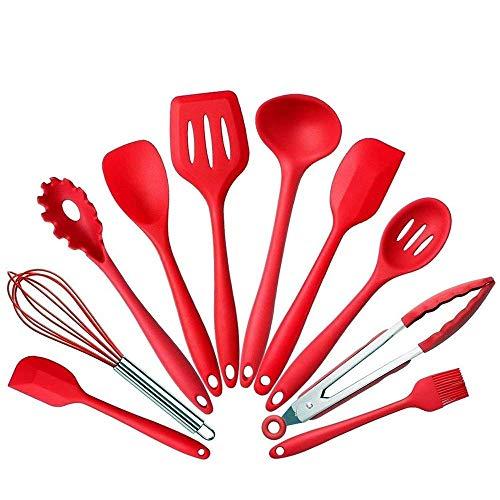 BonBon 10PcsSet Silicone Heat Resistant Kitchen Cooking Utensils Non-Stick Baking Tool Tongs ladle Gadget Red