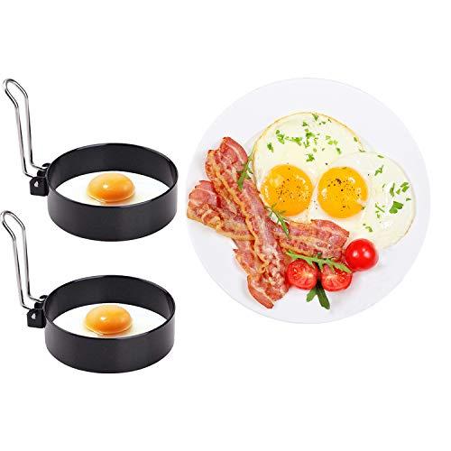 Egg Ring Stainless Steel Omelet Mold Round Egg Pancake Maker Mold 2 Pcs Round Breakfast Household Mold Tool Cooking Tool Omelette Egg Ring Mold For Fried Egg Egg Maker Molds