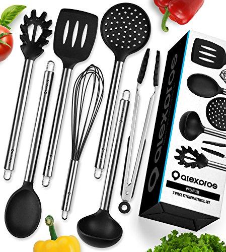 Kitchen Utensils Set - Silicone Cooking Utensils Set - Kitchen Utensil Set - 7 Silicone Utensils - Stainless Steel Utensils - Nonstick Cooking Utensil Set - Silicone Utensil Set - Ladle Spoon