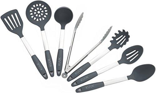 Kuuk Kitchen Utensil Set - BPA Free - Stainless Steel Silicone - 7 Pieces