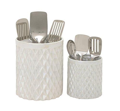 Benzara 93675 Attractive Ceramic Kitchen Utensil Holder Set of 2